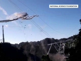 Video shows giant telescope crashing to the ground in Puerto Rico