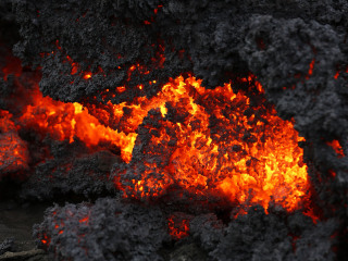 Lava Pours From Iceland Volcano