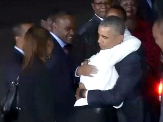 Obama's Sister Greets Him With a Hug in Kenya