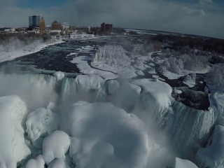 Exclusive Drone Video Shows a Frozen Niagara Falls