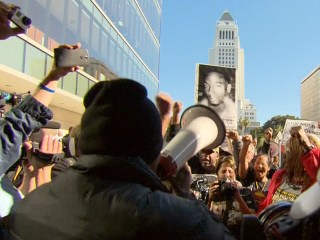 Skid Row Shooting Protesters Rally at LAPD HQ