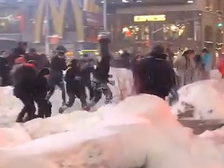 Watch as Times Square Snowball Fight Breaks Out