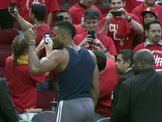Houston Rockets' Dwight Howard, Fans Wait Out Storm Inside Arena