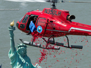 Rose Petals Rain Down on Statue of Liberty