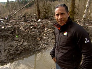 Miguel Almaguer Journeys to Edge of Mudslide Debris