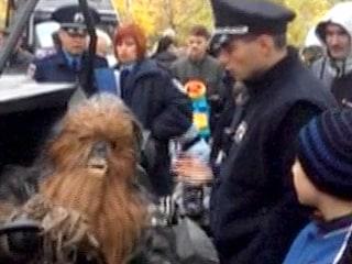 Watch Police Arrest 'Chewbacca' at Ukraine Polls