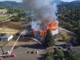Drone Footage Shows Scale of Fire at Historic Oregon Stadium