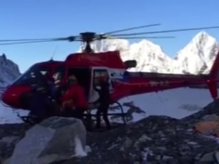 Helicopter Delivers Everest Climbers to Safety