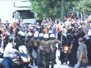 Greek Police and Protesters Clash at Rally