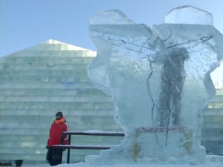 Frozen Beauty Created at Harbin Ice Sculpture Competition