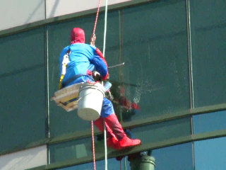 Superheroes Wash Windows at Ohio Children's Hospital