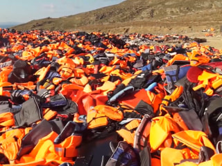 Life Jacket Mound Grows as Migrants Arrive on Lesbos