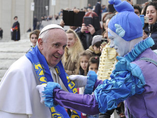 Pope Francis Entertained by Circus Troupe in St. Peter's Square