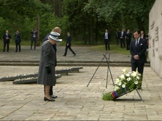 Queen Elizabeth II Visits Bergen-Belsen Concentration Camp