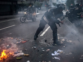 Venezuelan Security Forces Face Off With Protesters on Anniversary