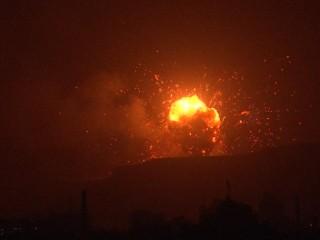 Air Strike on Weapons Depot Lights up Sanaa Skyline