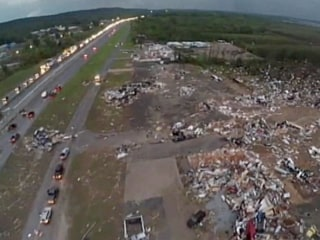 Aerial View of Tornado-Ravaged Town