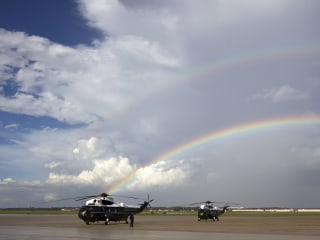 Double Rainbow Shines Over Marine One