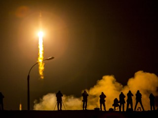 U.S.-Russian Crew Lifts Off for Yearlong Space Station Mission