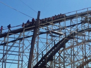 Iconic Cyclone Rollercoaster Gets Stuck on Opening Day