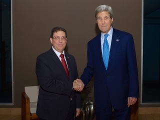 John Kerry Meets Cuban Foreign Minister Bruno Rodriguez in Panama City