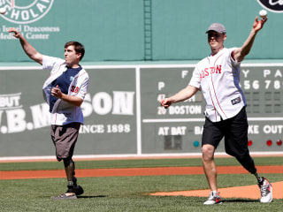 Boston Marathon Bombing Victims Throw First Pitches at Fenway