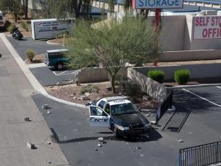 Photos Show Damage After Cop Car Rammed Gunman