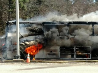 Bus Carrying UConn Students Burns on Mass. Highway