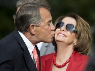 John Boehner Plants Kiss on Nancy Pelosi in the Rose Garden