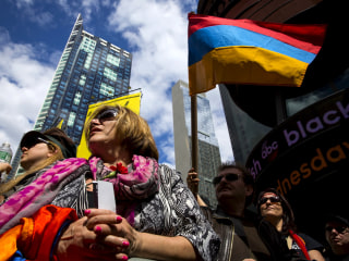 Thousands Rally in Times Square to Mark Centenary of Armenian Deaths
