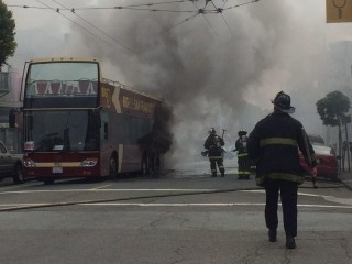 San Francisco Tour Bus Bursts Into Flame in Haight-Ashbury