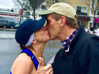 Marathon Mom Who Kissed Mystery Man Hears From His Wife