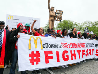 Not Lovin' It: Hundreds March at McDonald's Headquarters to Protest Low Wages