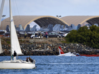 Navy Pilot Ejects Into San Diego Bay After Jet Skids Off Runway