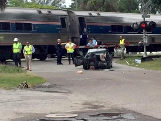 Amtrak Train Collides With Car, Splitting It in Half