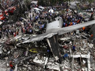 Military Plane Crashes in Indonesia Neighborhood