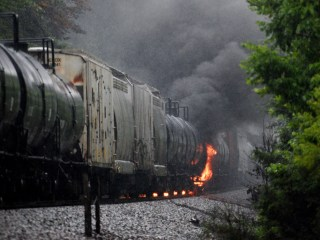 Fire Out at Derailment of Train Carrying Toxic Chemicals