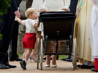 Prince George Peeks at Little Sister After Christening