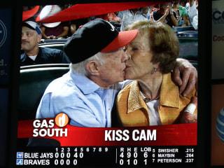 Jimmy Carter, Wife Rosalynn Smooch on Atlanta Braves' Kiss Cam