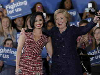 'Confident': Singer Demi Lovato Joins Hillary Clinton for Iowa Rally