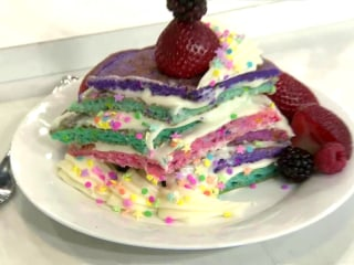 Make Mom Feel Great With This Rainbow Funfetti Pancake Cake