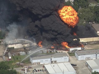 Fire Crews Battle Massive Blaze at Gun Warehouse in Houston, Texas