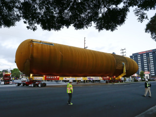 15-Story Space Shuttle Tank Rolls Through L.A. Streets