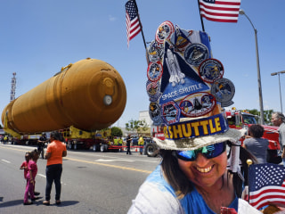 Space Shuttle Fuel Tank Rolls Slowly Through Los Angeles
