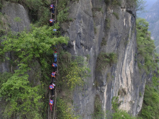 Chinese Students Climb 2000-foot Bamboo Ladder to Get to School