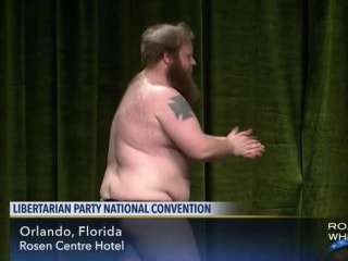 Libertarian Party Chairman Hopeful Strips on Stage — and on C-SPAN