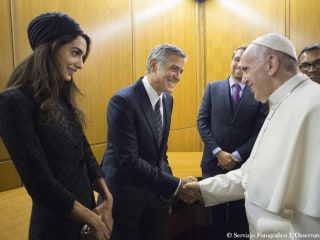 Pope Francis Awards Medals to Richard Gere, George Clooney, Salma Hayek
