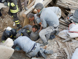 Crews Rescue Survivors Buried Under Rubble After Earthquake in Italy