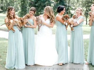 Here's why these bridesmaids swapped bouquets for adorable puppies