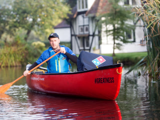 This Domino's Delivers by Canoe in England